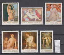 37K148 / 1969 - Michel  Nr. 2755/60 - Th. Pallady Gh. Tattarescu Art  Nudes NUDE WOMEN  - ** MNH Romania Rumanien - Unused Stamps