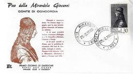 Fdc Chimera: PICO DELLA MIRANDOLA (1963); No Viaggiata; A_Mirandola - FDC
