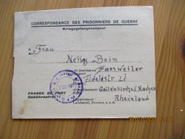 1945 Correspondance Prisonniers De Guerre Allemand Camp De Douai Hop Caux Pour Rheinland Deutschland - 1. Weltkrieg 1914-1918