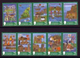 GUERNSEY MI-NR. 759-768 POSTFRISCH(MINT) WANDTEPPICHE 2 STREIFEN - Guernesey