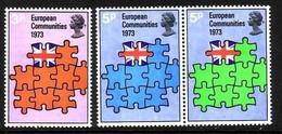 GROSSBRITANNIEN MI-NR. 612-614 POSTFRISCH(MINT) MITLÄUFER 1973 BEITRITT GROSSBRITANNIENS ZUR EG - Ideas Europeas