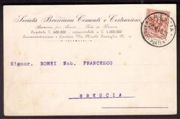 WQ113    Brescia 1910 Cartolina Società Bresciana Cementi E Costruzioni, Aquila Sabauda  2 Cent - Marcofilía