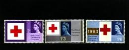 GREAT BRITAIN - 1963  RED CROSS  PHOSPHOR  SET  MINT NH - Unused Stamps