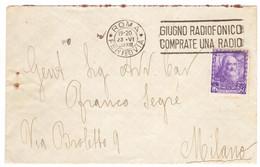 """WQ122    Regno 1939 - Annullo A Targhetta """"GIUGNO RADIOFONICO...."""" Su Busta Per Milano 50c, Leonardo Da Vinci - Marcophilia"""
