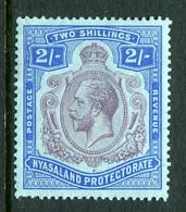 Nyasaland 1921-33 KGV - Wmk. Mult. Script CA -  2/- Purple & Blue On Blue HM (SG 109) - Nyassaland (1907-1953)