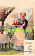 CPA EN RELIEF GAUFREE THANKSGIVING GODT NYTT AR FEMME EMBOSSED CARD SVERIGE SWEDEN - Thanksgiving