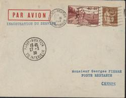 Par Avion Cachet Inauguration Du Service Flamme + CAD Paris Aviation 27 3 1938 Service Intérieur YT 346 + 364 - Air Post