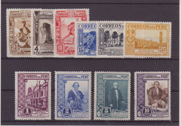 PEROU : N° 335/44 * . TB .1936/37 . ( CATALOGUE YVERT ) . - Peru