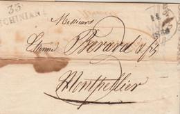 Lettre Marque Postale 33 S CHINIAN Hérault Dateur 14/5/1830 Taxe Manuscrite à Montpellier - 1801-1848: Vorläufer XIX