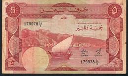 "YEMEN D.R. P8a 5 DINARS 1984 "" ADEN ""  Signature 1a FINE NO P.h.,NO Tear ! - Yemen"