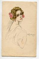 ILLUSTRATEUR ZANDRINO Portrait Elégante Jeune Femme écrite  D08 2021 - Zandrino