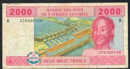 C.A.S.Letter A GABON P408Ab 2000 FRANCS 2002  RARE Signature 9 FINE FOLLDS ,NO P.h.,NO Tear ! - Central African States