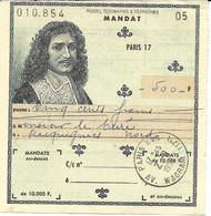 MANDAT 1959 POSTES TELGRAPHES & TELEPHONE PARIS 17 AV. WAGRAM - Telegraaf-en Telefoonzegels