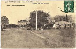 A2 Gironde 33 PESSAC Dépôt Du Tramway Pour Bordeaux Place Du Rond Point 1914 - Pessac