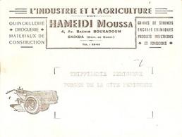 Vieux Papier D'Algérie, Carte De Voeux De Moussa Hameidi à Skikda, Agent Rhone-Poulenc, Quincaillerie, Motoculture - Pubblicitari