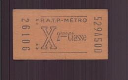 """Ticket """" RATP-Métro """" - Unclassified"""