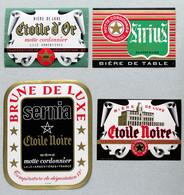 4 Anciennes Étiquettes Bière, Brasserie Motte-Cordonnier Armentieres (Beer Label) - Sotto-boccale
