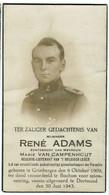 Lot 010 Gesneuveld Adams René Echtgenoot Marie Van Campenhhout Spionage Grimbergen  Dortmund 30 Juni 1943 - Devotieprenten