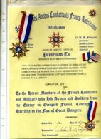 Document Et Médailles Des Anciens Combattant Franco-americain - Francia