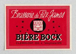 Ancienne Étiquette Bière Brasserie Fitz-James, Clermont (Beer Label Bieretiketten) - Sotto-boccale