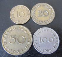 France / Sarre / Saar - Série Complète (4 Monnaies) 1954 - 1955 - Saarland (1954-1955)