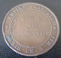 France - Médaille Napoléon III 1854 - Visite De La Monnaie Le 3 Mai - Bronze Dimensions D'une Pièce De 10 Centimes - Firma's