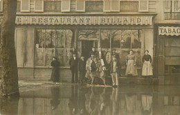 COURBEVOIE Restaurant Billard Lors Des Inondations De 1910 - CARTE PHOTO - Courbevoie