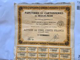 PAPETERIES  Et  CARTONNERIES  Du  MOULIN-PICON ---------Action  De  500 Frs - Industrie
