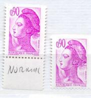 FRANCE N° 2242 0.90C VIOLET CLAIR TYPE LIBERTE IMPRESSION PALE ET DEPOUILLLEE NEUF SANS CHARNIERE - 1980-1989