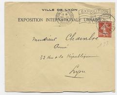 N° 138 LETTRE ENTETE CONCORDANTE EXPOSITION INTERNATIONALE URBAINE MECANIQUE   TAD LYON EXPOSITION 1914 DRAPEAU - Mechanical Postmarks (Advertisement)