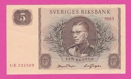 SUEDE  Billet  5 Kronor 1963  Pick 50b  UNC - Sweden