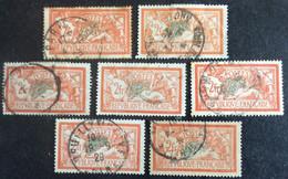 145 ° 3 Merson 2fr Orange Et Vert Lot De 7 Oblitérés Nuances De Couleurs - 1900-27 Merson