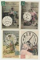 Lot De 10 Cartes Fantaisie Thème Heure Horloge Contoise Temps Femme Enfants Couple - Andere