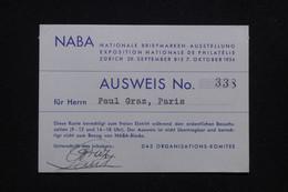 SUISSE - Laisser Passer Pour L'Exposition Philatélique De Zürich En 1934 - L 93714 - Covers & Documents
