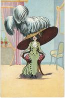 Belle Illustration Non Signée - Femme - Mode - Chapeau - Cachet De La Poste 1911 - 1900-1949