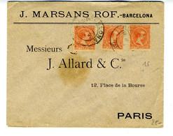España 1900  SOBRE  Con 3 Sellos Pelon Bermellon Desde BARCELONA  Hasta PARIS   EL770 - Cartas