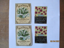 4 ETIQUETTES J.GIRAUD FILS GRASSE ET PARIS - Labels