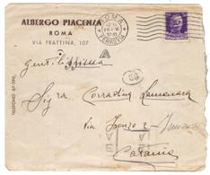 WQ128     Regno 1937 - Busta  ALBERGO PIACENZA - ROMA, Imperiale 50c Per Catania - Marcofilía