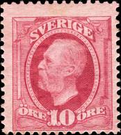 SUÈDE / SWEDEN / SVERIGE - 1895 - Mi.43 / Facit 54e1 10ö Bright Carmine Mint* - Neufs