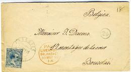 España 1896  Sobre  ARRECIFE CANARIAS PAID LIVERPOOL  Hasta BRUXELLES EL773 - Cartas