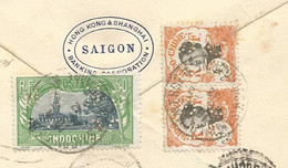 INDOCHINE 50CX2 +11CPAIRE+4C PAIRE PERFIN PERFORE HSBC LETTRE COVER BANKING HONG KONG SHANGHAI SAIGON 1932 TO SUISSE RR - Covers & Documents