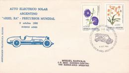 ARGENTINA. AUTO ELECTRICO SOLAR ARGENTINO PRECURSOR MUNDIAL. VOITURE ÉLECTRIQUE SOLAIRE. 1986, SPC ENVELOPPE.- LILHU - Autos