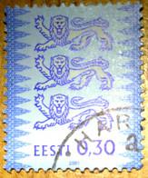 Estonia Estland 2001  Tree Lions Stamp Coat Of Arms Michel 357 II  0.30 Used ( 0 ) - Estonia