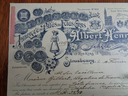 FACTURE  - 67- DEPARTEMENT DU BAS-RHIN - STRASBOURG 1912 - FABRIQUE DE PATES DE FOIES GRAS : ALBERT HENRY - Zonder Classificatie