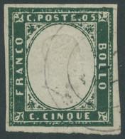 SARDINIEN 10b O, 1859, 5 C. Smaragdgrün, Pracht, Mi. (250.-) - Sardinien