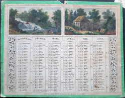 CALENDRIER ANCIEN 1840 LITHOGRAPHIE ET COLORE AVEC SCENES CHAMPETRES  ROMANTIQUES UN MANQUE AU HAUT 27 X 22 CM - Big : ...-1900
