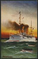 ALTE POSTKARTEN - SCHIFFE KAISERL. MARINE S.M.S. Undine, 4 Karten, Davon 2 Gebrauchte Und Eine Farbige Künstlerkarte - Krieg