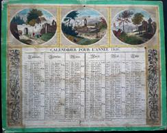 CALENDRIER ANCIEN 1836 LITHOGRAPHIE ET COLORE AVEC ALLEGORIES CHAMPETRES HISTORIQUES  LEGERE MOUILLURE  26 X 21 CM - Big : ...-1900