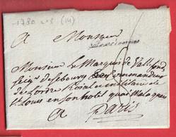 MARQUE VALENCIENNES NORD LN°8 1780 INDICE 14 POUR PARIS - 1701-1800: Vorläufer XVIII