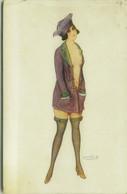 BERTIGLIA SIGNED 1910s POSTCARD - SEMI NAKED WOMAN - N. 173-5 (BG1148) - Bertiglia, A.